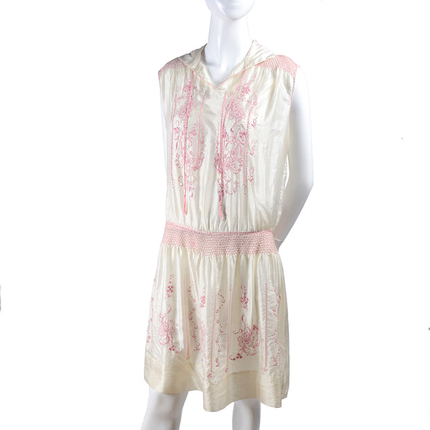 Sleeveless 1920s Vintage Dress in Ivory Silk w/ Pink Embroidery