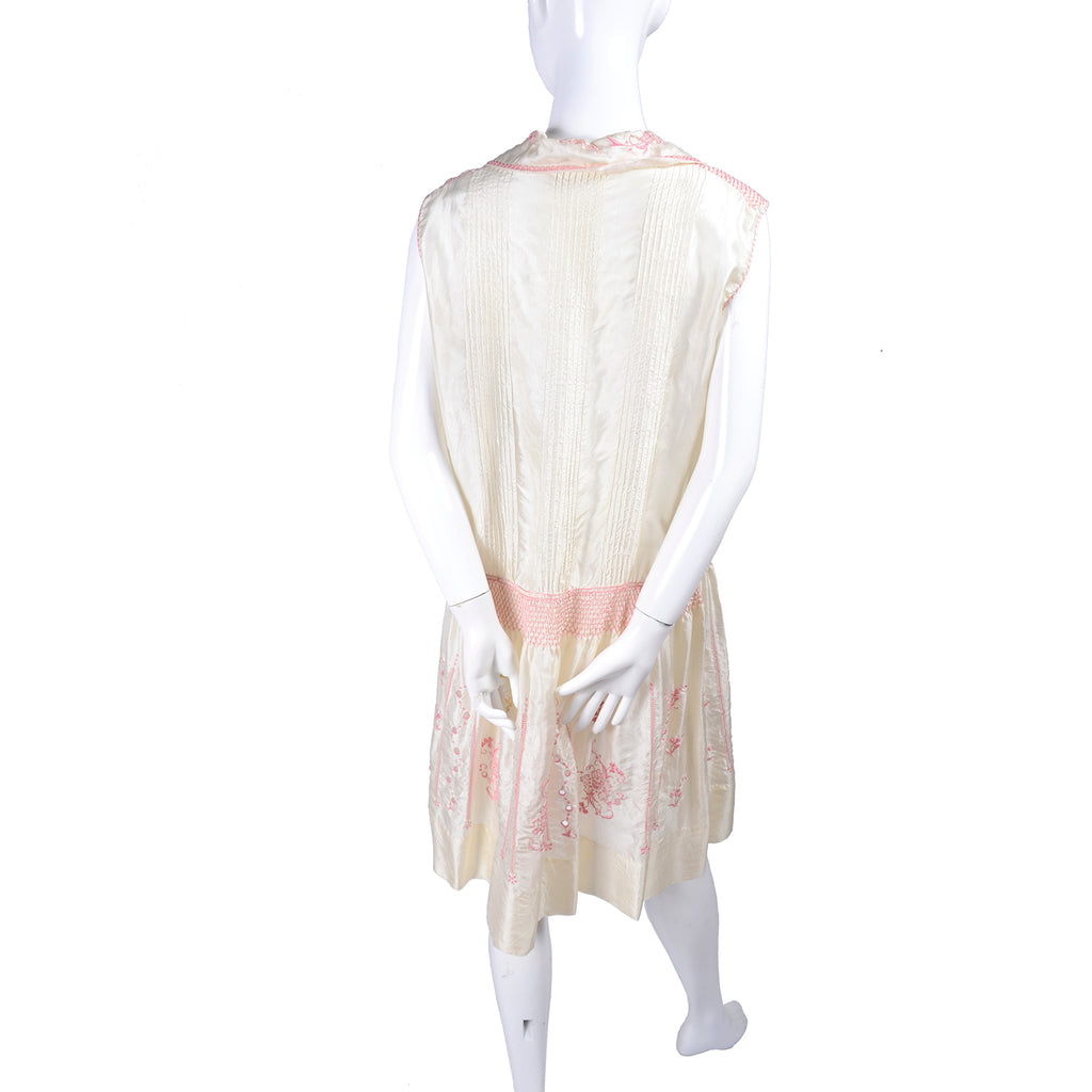 Bohemian Ivory 1920s Vintage Silk Dress w/ Pink Embroidery