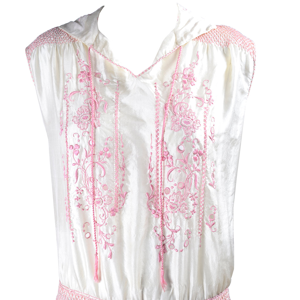 1920s Vintage Dress in Ivory Silk w/ Pink Embroidery
