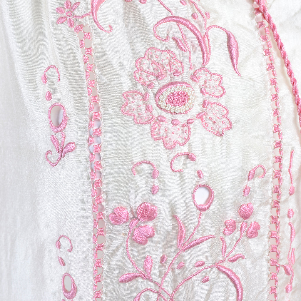 1920s Silk Dress with Pink Embroidery