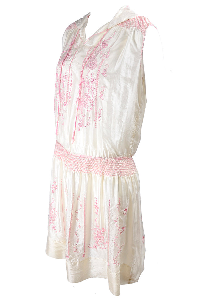 1920s Ivory Silk Pink Embroidered Bohemian Dress