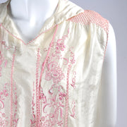 Bohemian 1920s Vintage Dress in Ivory Silk w/ Pink Embroidery
