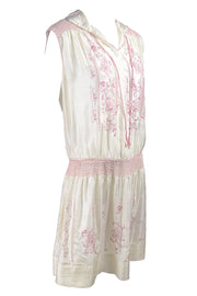 Bohemian Silk 1920s Vintage Dress in Ivory w/ Pink Embroidery