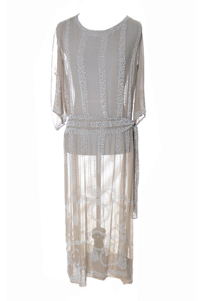 1920's Beaded Vintage Silk Flapper Dress - Dressing Vintage