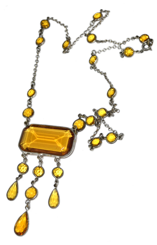 1920s Necklace Art Deco Amber Glass