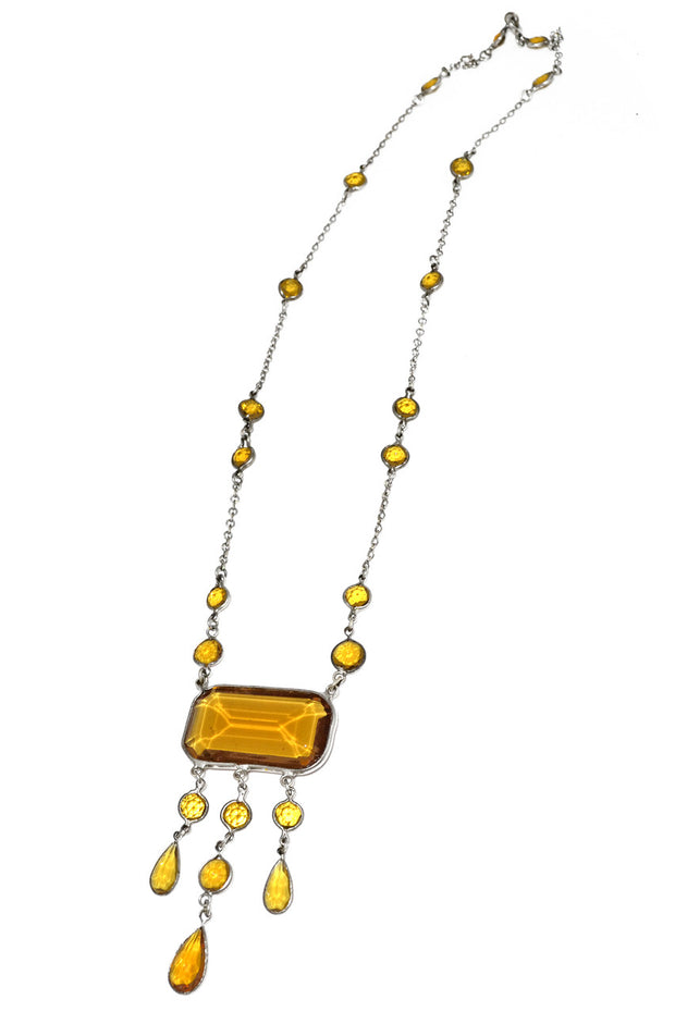 1920s Art Deco Yellow Glass Necklace
