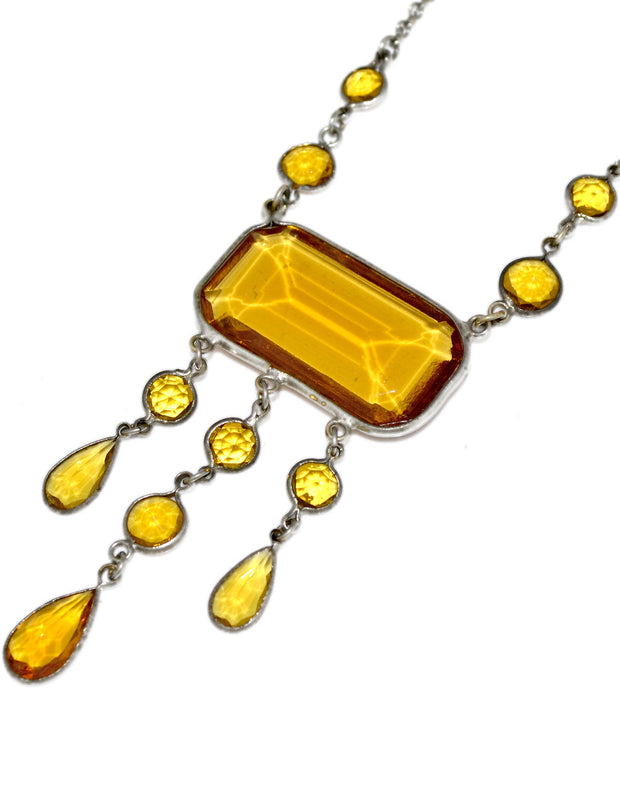 Vintage Necklace 1920s Art Deco Amber Glass