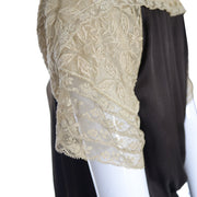 1920s Vintage Dress Brown Silk Lace
