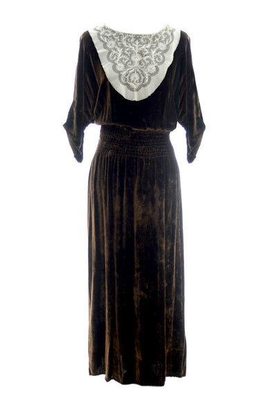 1920's Early 1930's Vintage Brown Velvet And Lace Dress - Dressing Vintage