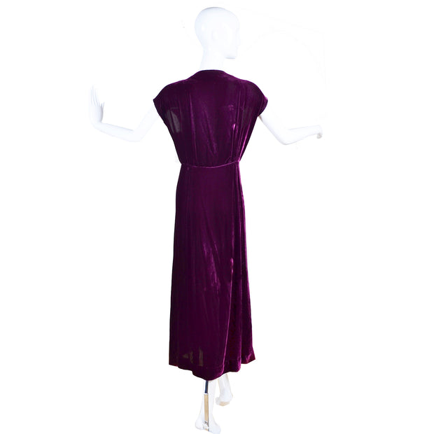 1930s Vintage Burgundy Silk Velvet Evening Dress Size Extra Large 30s