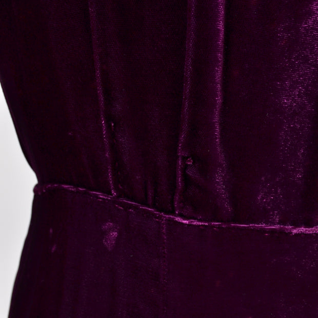 1930s Vintage Burgundy Silk Velvet Evening 30s Dress Size Extra Large