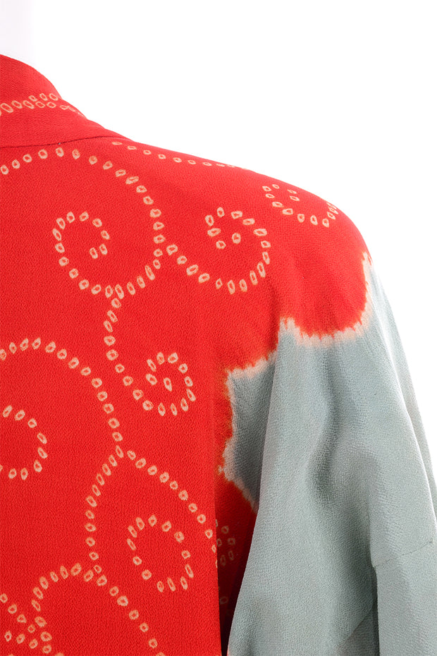 1930s Gumps Long Kimono in Green/Grey & Red/Orange Silk