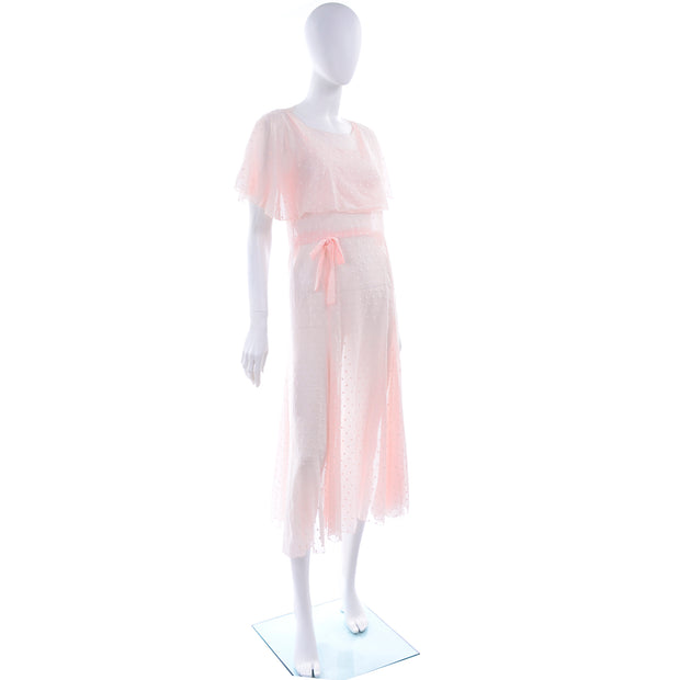 1930s Sheer Pink White Polka Dot Dress With Butterfly Capelet
