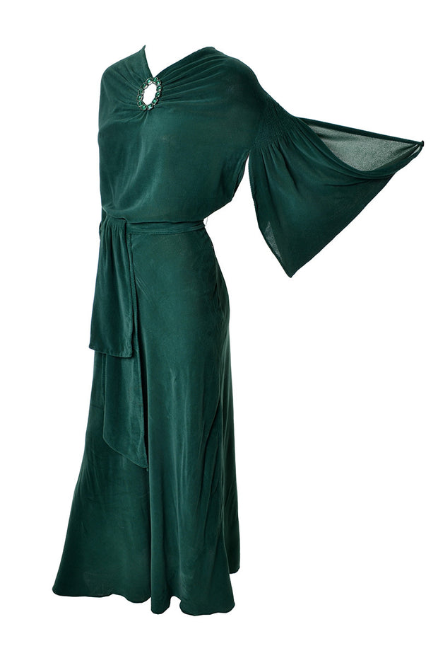 1930s Green Vintage Hostess Gown Jeweled