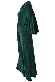 Plush 1930s Green Vintage Hostess Gown