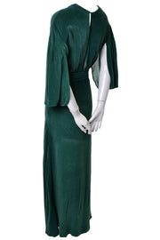 Long 1930s Green Vintage Hostess Gown