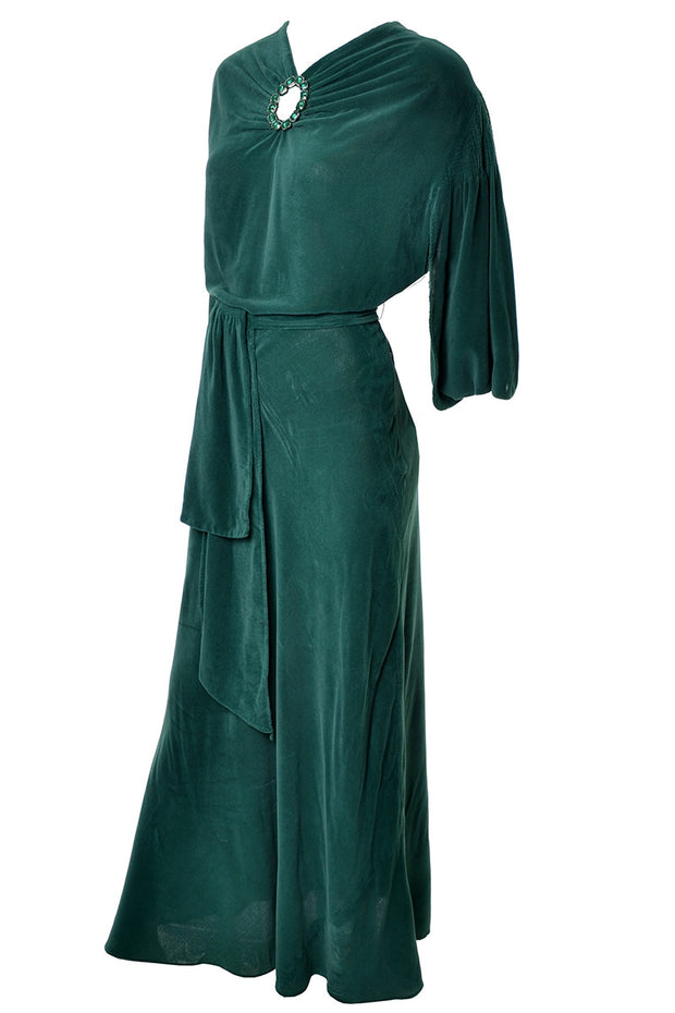1930s Green Vintage Hostess Gown Plush