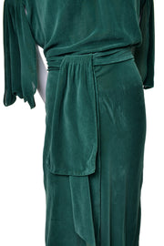 Plush Velveteen 1930s Green Vintage Hostess Gown