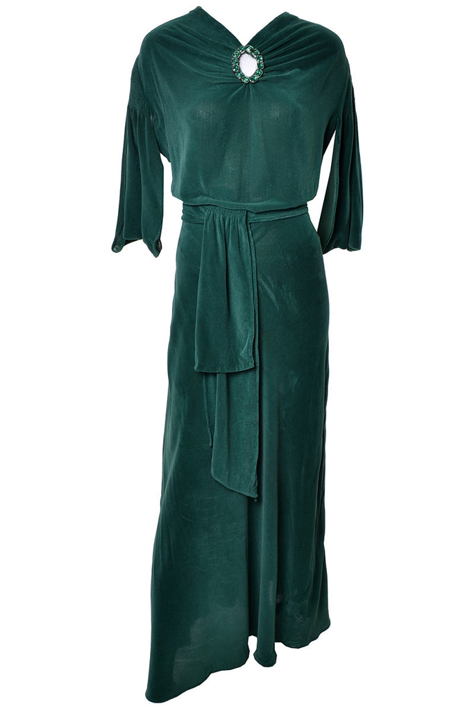 1930\'s Long Green Velveteen Vintage Hostess Gown Robe – Dressing Vintage