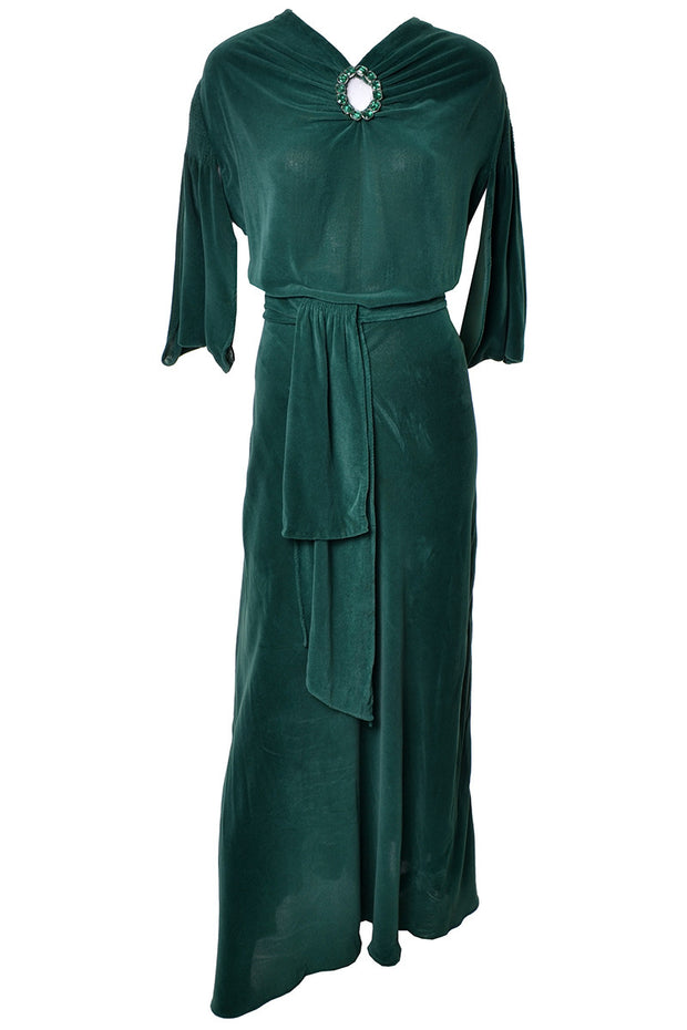 1930s Green Velveteen Vintage Hostess Gown