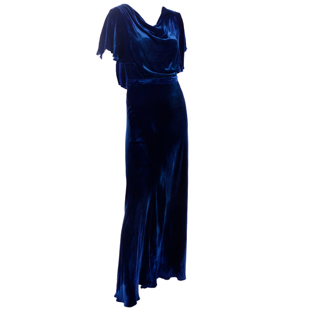 1930s vintage blue velvet dress with flutter sleeves
