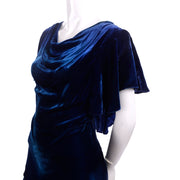 Blue Velvet 1930's Dress Bias Cut Evening Gown