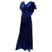 1930s dress in Blue Velvet with Flutter SLeeves
