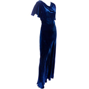 Bias Cut Vintage Blue Velvet 1930s dress
