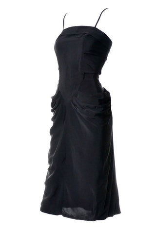 1970's Black Vintage Maxi Dress with Slit and Silver Sparkle Hot Pants