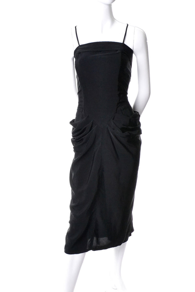 1930s or 1940s Black Gathered Vintage Cocktail Dress