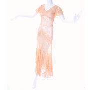 1930s Peach Lace Vintage Dress w/ Silk Floral Appliqués & Butterfly Sleeves