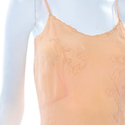1930's Peach Silk Short Embroidered Slip or Nightgown Size S/M