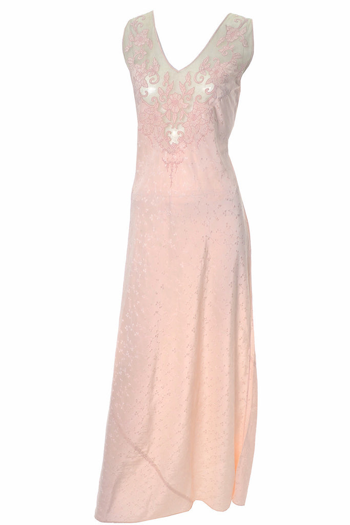 Elegant 1930s Pink Silk Embroidered Vintage Nightgown Appliques