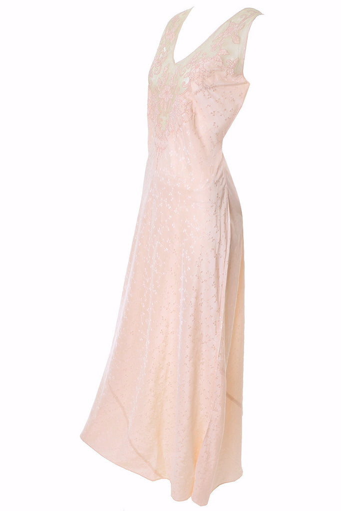 1930s Vintage silk Nightgown Lace