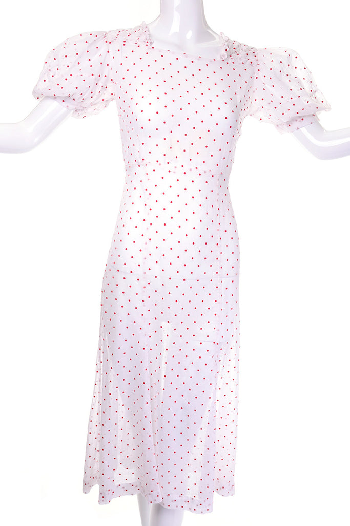 1930's white with red polka dot vintage dress