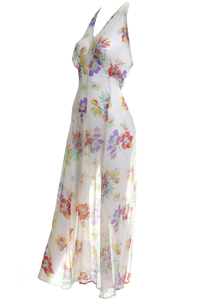 1930's Floral Silk Chiffon Vintage Dress & Bolero Jacket