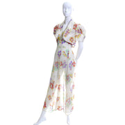 1930's Floral Silk Chiffon Peek a Boo Back Vintage Dress & Bolero Jacket - Dressing Vintage