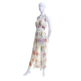 1930s Vintage Dress Silk Chiffon Floral 30s