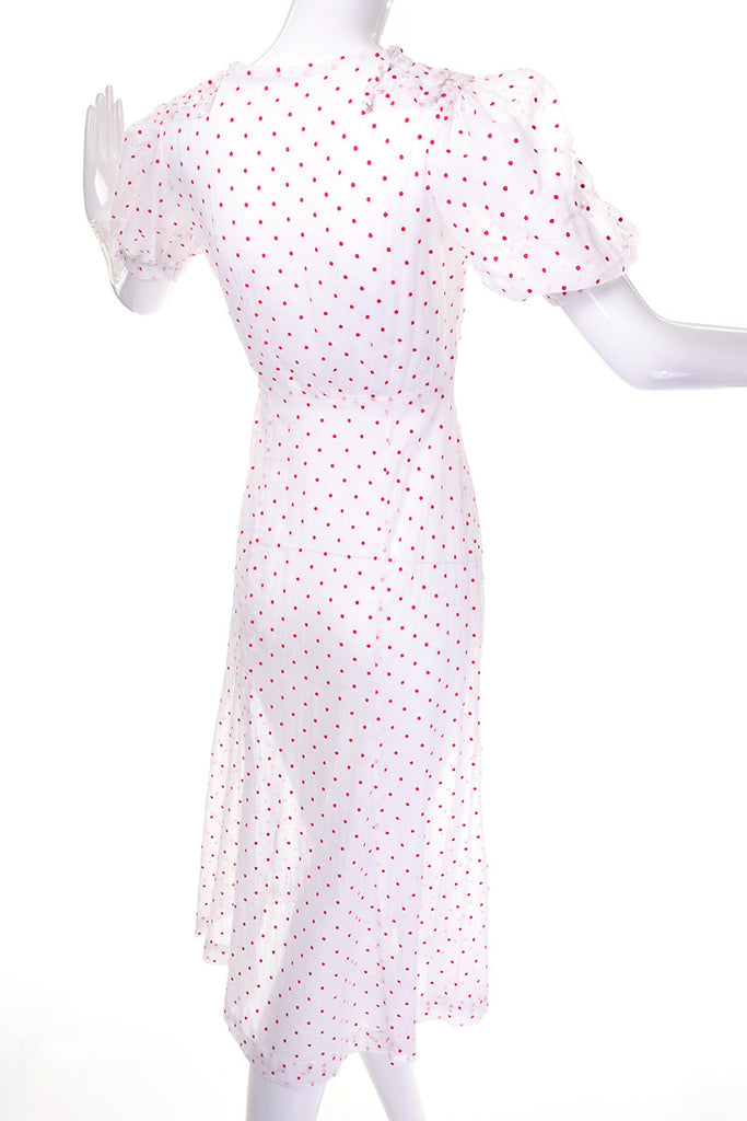 Sheer vintage 1930's white day dress with red polka dots