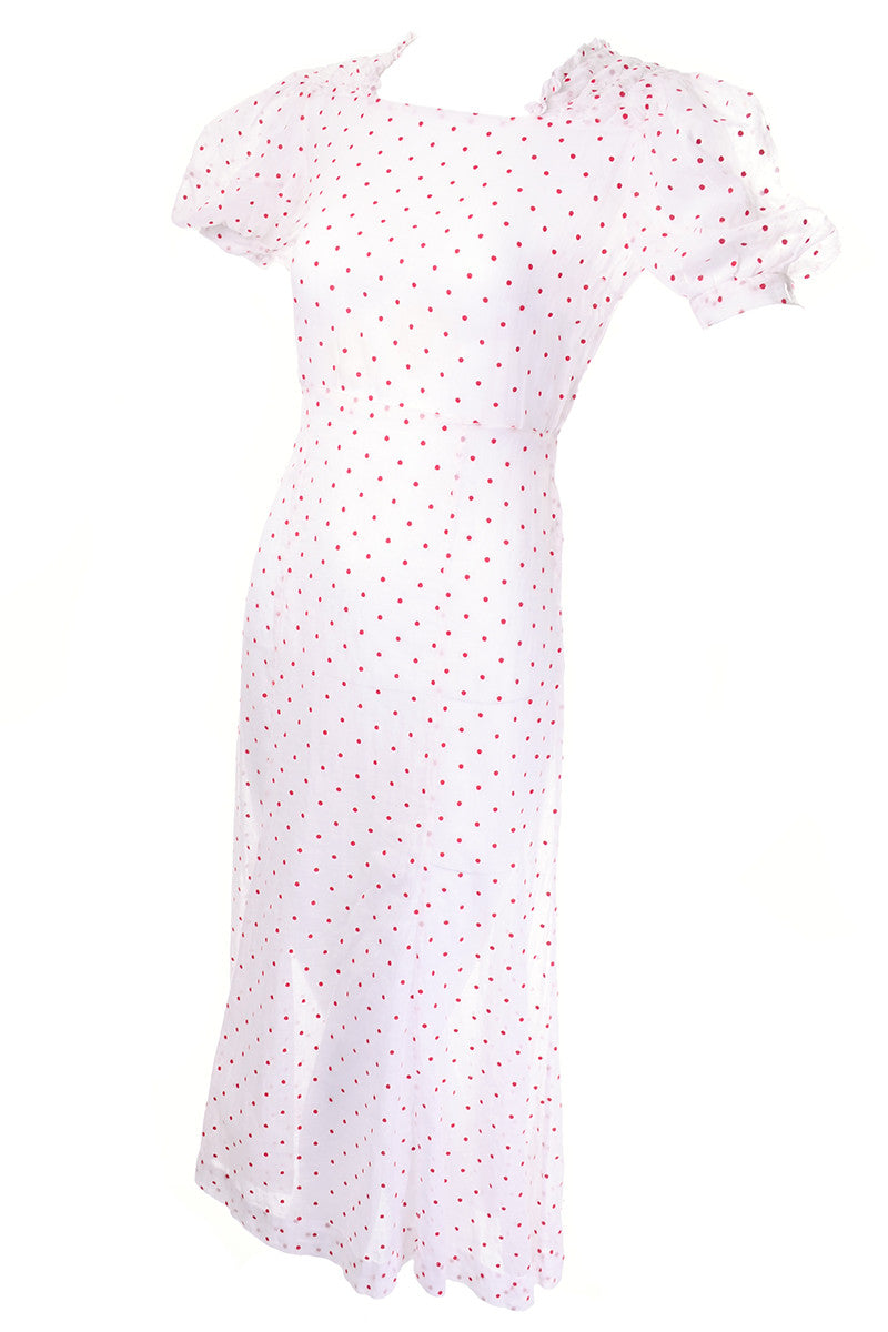 24264967b4d180 1930's White with Red Polka Dots Sheer Cotton Vintage Dress ...