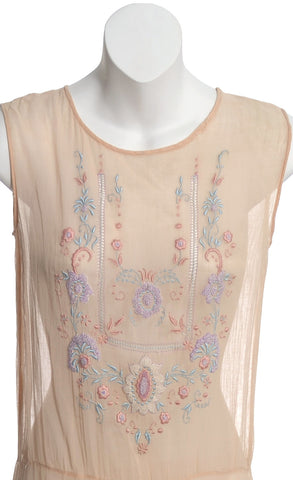 1920s 1930s embroidered smocked vintage dress