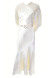 1930's slipper satin wedding gown train