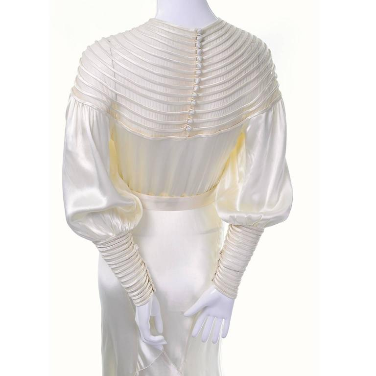 Vintage 1930's wedding dress with sheer stripes and covered buttons