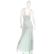 1930s Kristina Handmade Light Blue Silk Bias Cut Nightgown