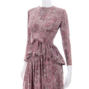 1940s Novelty Toile Print Mauve Pink Vintage Dress w Peplum belt