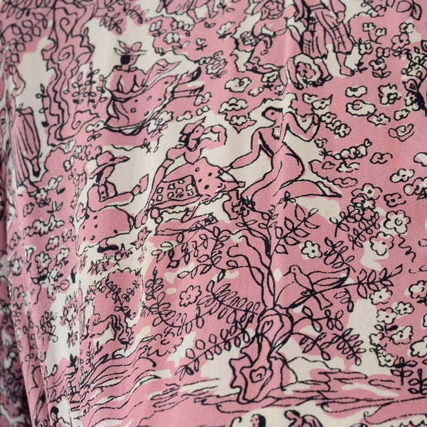 40s Novelty Toile Print Mauve Pink Vintage Dress w Peplum