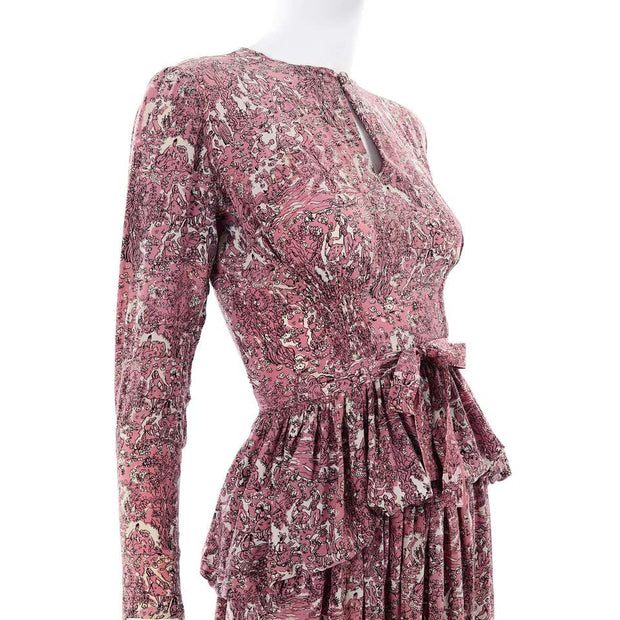 1940s Novelty Toile Print Mauve Pink Vintage Dress w Peplum shirred
