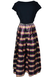1940's Dark Navy and Plaid Vintage Maxi Dress Size 6 - Dressing Vintage