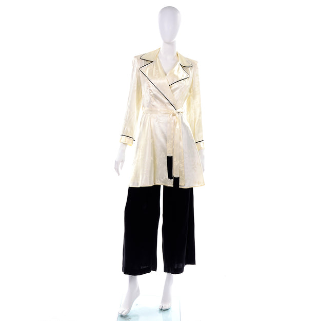 1940's Ivory Botanical Silk Jacket w/ Black Wide Leg Pants