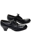 1940's Selby Lace Up Black Leather Oxford Heels Size 9 A Narrow